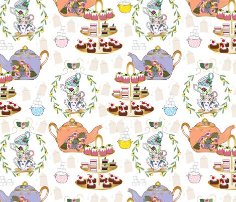 A Spoonful of Sugar for HoPE, Tea Fabric, Tea Time, Tea Party fabric by applebutterpattycake on Spoonflower - custom fabric