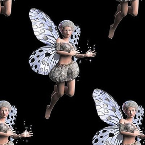 Silver Fairy Black Background