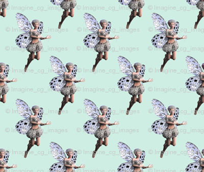 Silver Fairy Green Background