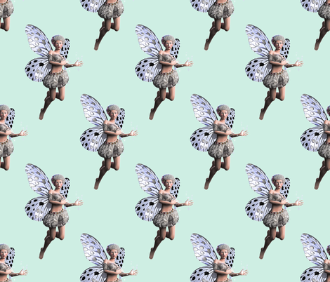 Silver Fairy Green Background fabric by imagine_cg_images on Spoonflower - custom fabric