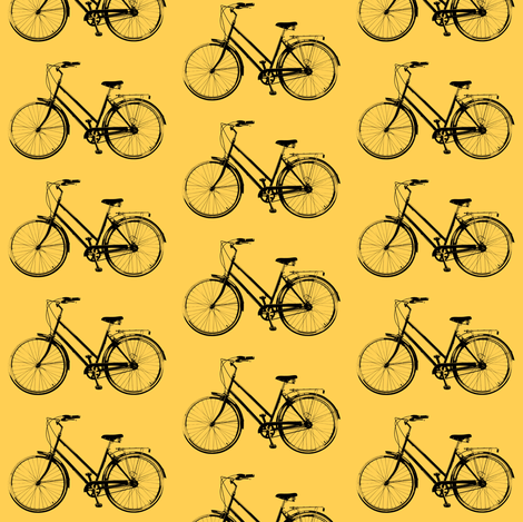 Retro Bicycles // Orange fabric by thinlinetextiles on Spoonflower - custom fabric