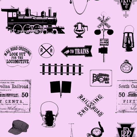 Railroad Symbols - Pink // Small fabric by thinlinetextiles on Spoonflower - custom fabric