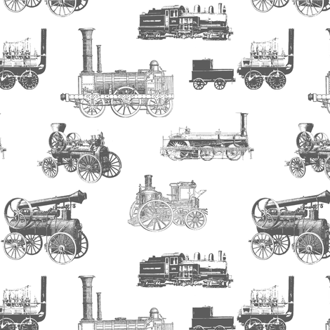 Antique Steam Engines in Grey // Small fabric by thinlinetextiles on Spoonflower - custom fabric
