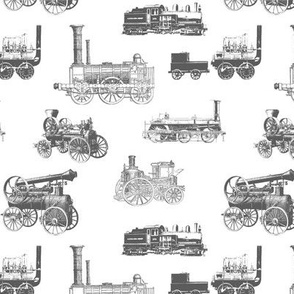 Antique Steam Engines in Grey // Small