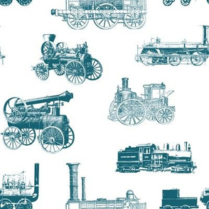 Antique Steam Engines // Aquamarine // Large