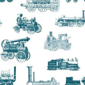 Antique Steam Engines // Aquamarine // Large