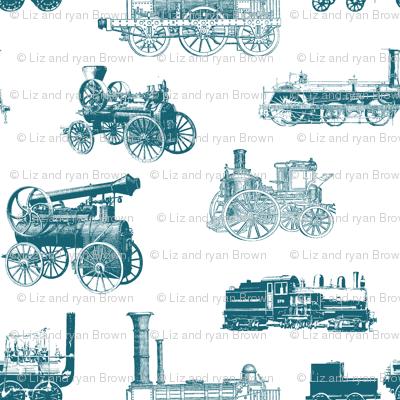 Antique Steam Engines in Aqua // Small