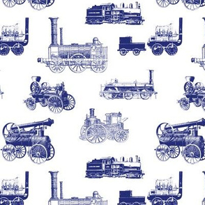 Antique Steam Engines in Blue // Small
