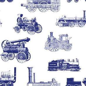 Antique Steam Engines in Blue // Large