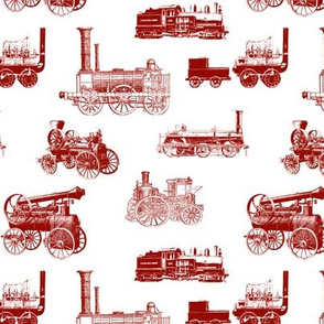 Antique Steam Engines in Red // Large