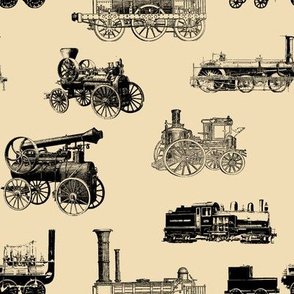 Antique Steam Engines on Tan // Large