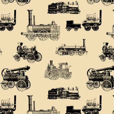 Antique Steam Engines on Tan // Small fabric by thinlinetextiles on Spoonflower - custom fabric