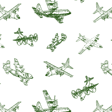 C130s in Green // Small fabric by thinlinetextiles on Spoonflower - custom fabric