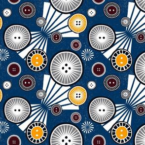 African buttons blue