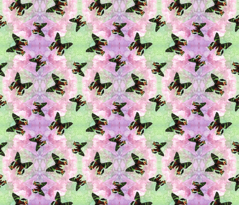 Urania ripheus butterfly watercolor fabric by savousépate on Spoonflower - custom fabric