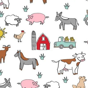 farm // nursery kids gender neutral cow chicken pig barn farms fabric white colorful