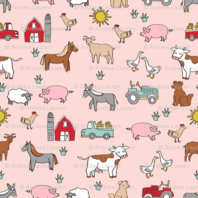 farm // nursery kids gender neutral cow chicken pig barn farms fabric pink