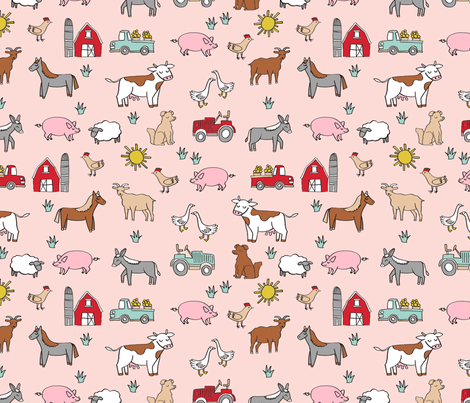 farm // nursery kids gender neutral cow chicken pig barn farms fabric pink fabric by andrea_lauren on Spoonflower - custom fabric