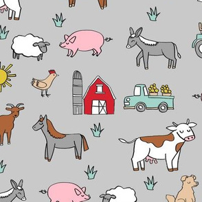 farm // nursery kids gender neutral cow chicken pig barn farms fabric grey