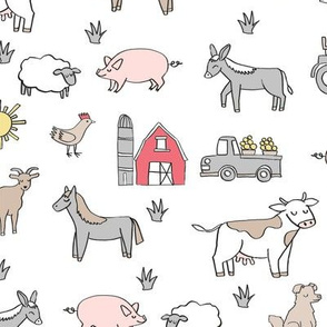 farm // nursery kids gender neutral cow chicken pig barn farms fabric white