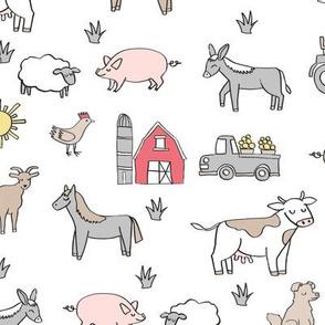 farm // nursery kids gender neutral cow chicken pig barn farms fabric white
