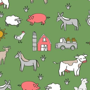 farm // nursery kids gender neutral cow chicken pig barn farms fabric green
