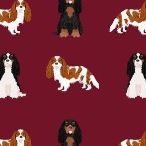 cavalier king charles spaniel mixed coats  dog fabric ruby