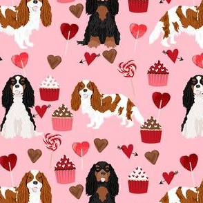 cavalier king charles spaniel mixed coats valentines cupcakes hearts dog fabric pink