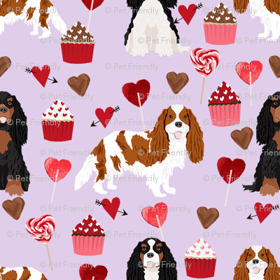 cavalier king charles spaniel mixed coats valentines cupcakes hearts dog fabric purple