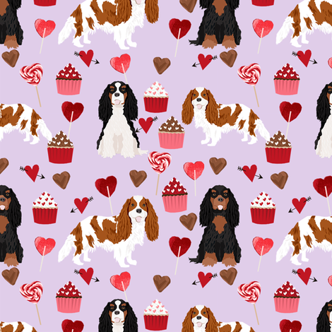 cavalier king charles spaniel mixed coats valentines cupcakes hearts dog fabric purple fabric by petfriendly on Spoonflower - custom fabric
