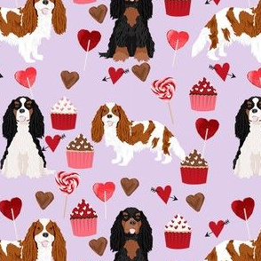 cavalier king charles spaniel mixed coats valentines cupcakes hearts dog fabric purple