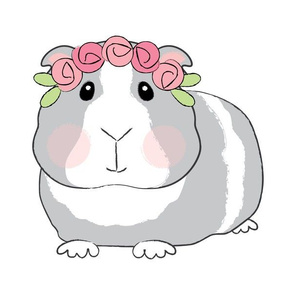 guinea-pig with roses plushie pillow