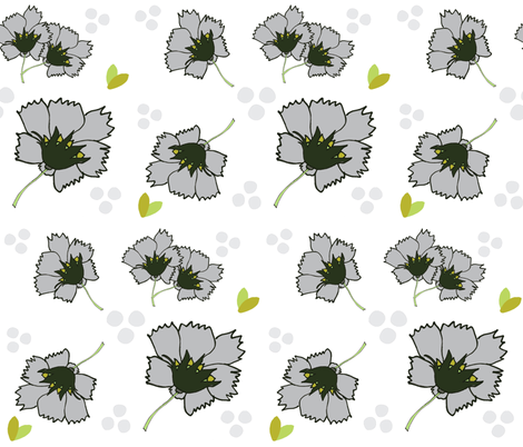 Spring blooms LARGE 105- misty gray  fabric by drapestudio on Spoonflower - custom fabric
