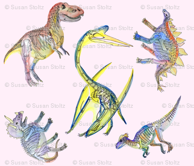 Dinosaurs Watercolor on Pink