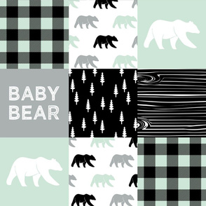 baby bear - woodland patchwork fabric - black mint grey - bears