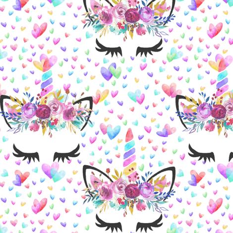 "3.5"" valentines unicorns fabric by lil'faye on Spoonflower - custom fabric"