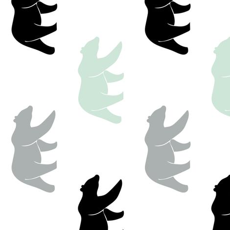 multi bears || mint, grey, black (90) fabric by littlearrowdesign on Spoonflower - custom fabric