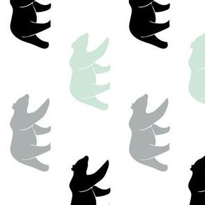 multi bears || mint, grey, black (90)