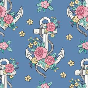 Anchor Nautical & Vintage Boho Roses Flowers on Dark Blue Navy