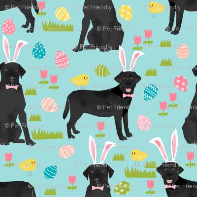 black lab fabric labrador retriever easter pastel fabric cute dog design - blue - smaller version - ULTRA TINY PRINT
