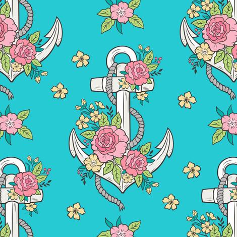 Anchor Nautical & Vintage Boho Roses Flowers on Aqua Blue  fabric by caja_design on Spoonflower - custom fabric