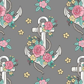 Anchor Nautical & Vintage Boho Roses Flowers on Dark Grey