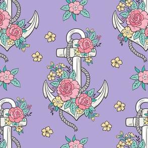 Anchor Nautical & Vintage Boho Roses Flowers on Purple Lavender