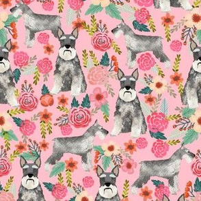 schnauzer floral fabric - dogs with cropped ears design cute mini schnauzers design - pink