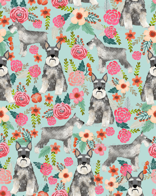 schnauzer floral fabric - dogs with cropped ears design cute mini schnauzers design - light blue