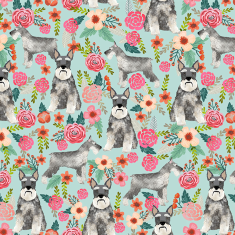 schnauzer floral fabric - dogs with cropped ears design cute mini schnauzers design - light blue fabric by petfriendly on Spoonflower - custom fabric