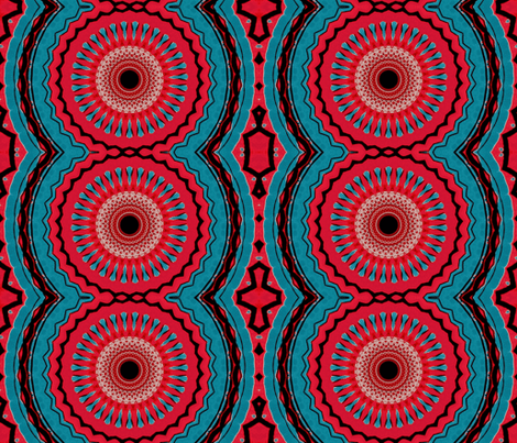 red blue tribal wheels fabric by heikou on Spoonflower - custom fabric