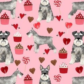 schnauzer valentines fabric - dogs with hearts and cupcakes love design - pink
