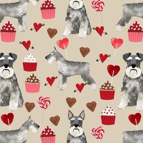 schnauzer valentines fabric - dogs with hearts and cupcakes love design - khaki