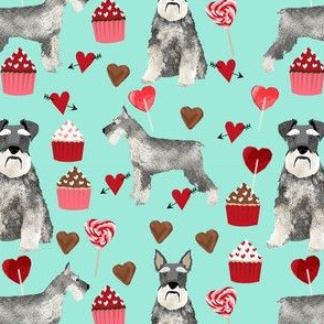 schnauzer valentines fabric - dogs with hearts and cupcakes love design - mint